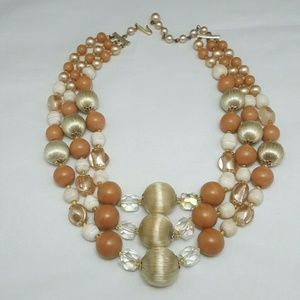 Vintage Japan Silk Thread Crystal Pearl Necklace